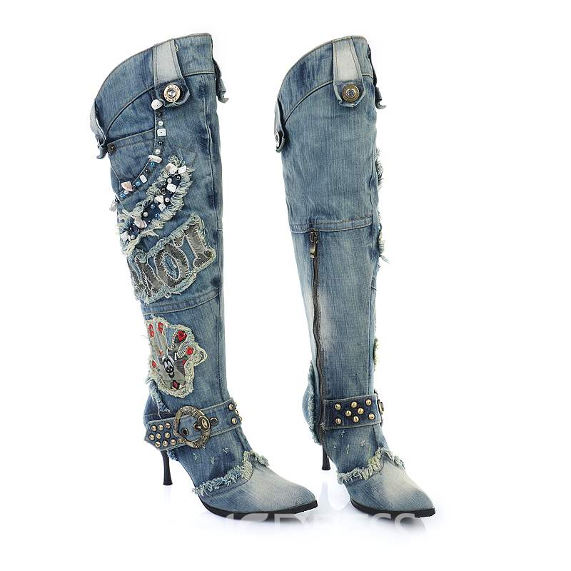 Ericdress Euramerican Stylish Denim Knight Boots