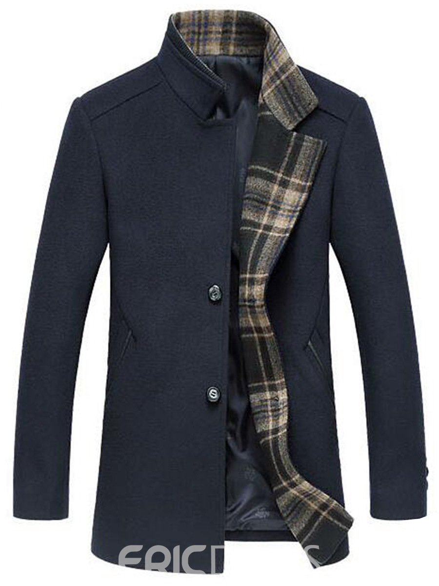 Ericdress Plaid Patchwork Mid-Length Vogue Men's Woolen Coat