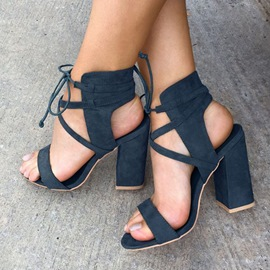 Ericdress Dark Blue Open Toe Block Heel Sandals