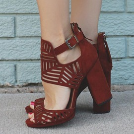 Ericdress Date Red Cut Out Chunky Sandals