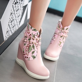 Ericdress Floral Print Wedge Heel Ankle Boots
