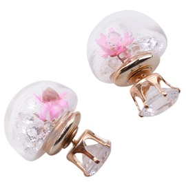 Ericdress Pink Flowers Design Hemispherical Stud Earrings