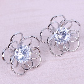 Ericdress Exquisite Zircon Flower Shaped Earrings