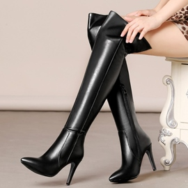 Eicdress Eurameric PU Point Toe Thigh High Boots