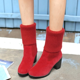 Ericdress Kintting Patchwork Block Heel Ankle Boots