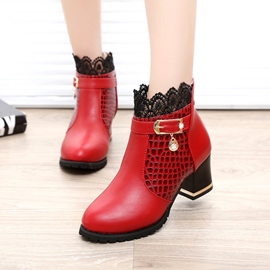 Ericdress dentelle Patchwork Chunky talon bottines