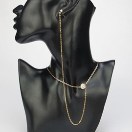 Ericdress Unique Golden Chain Necklace with Earring