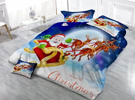 Christmas Santa Sleigh Print Satin Drill 4-Piece Duvet Cover Sets