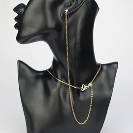 Ericdress Golden Chain LOVE Necklace with Earring
