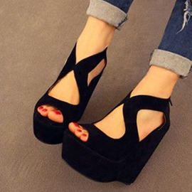Ericdress Black Suede Wedge Sandals