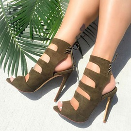 Ericdress Army Green Laser Cut Backless Stiletto Sandals