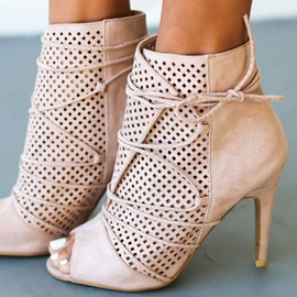 Ericdress Light Pink Open Toe Bootie Sandals