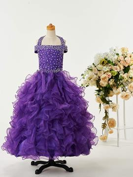 Ericdress High Quality Beaded Halter Ball Gown Flower Girl Party Dress