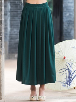 Ericdress Solid Color Vintage Pleated Skirt