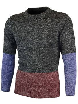 Ericdress Color Block Crew Neck Long Sleeve Men's Sweater
