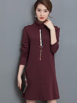 Ericdress Bead Epaulet Turtleneck Patchwork Casual Dress