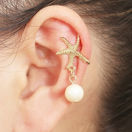 Ericdress Starfish Design Pearl Pendant Ear Cuff