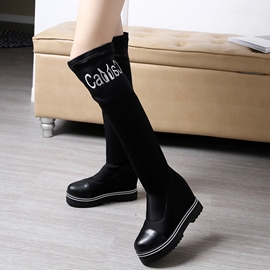 Eicdress Patchwork Elevator Heel Thigh High Boots