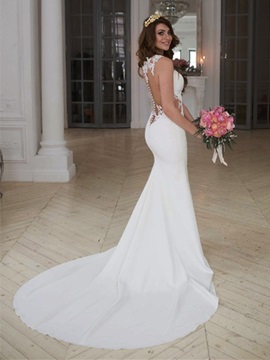Appliques Trumpet/Mermaid Beach Wedding Dress