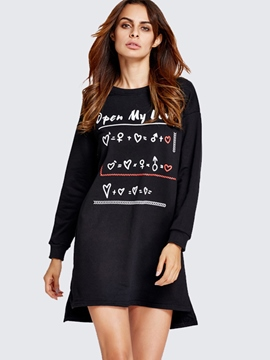 Ericdress Sport Letter Print Round Collar Loose Casual Dress