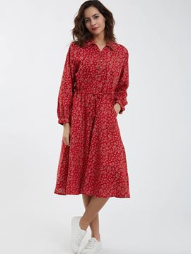Ericdress Pastoral Lapel Lantern Sleeves Flower Printed Maxi Dress
