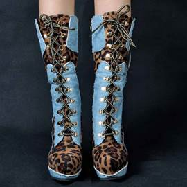 Eicdress Leopard Patchwork Platform Lace up Ultra High Boots