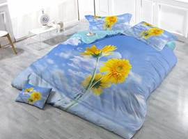 Elegant Daisy Print Satin Drill 4-Piece Duvet Cover Sets