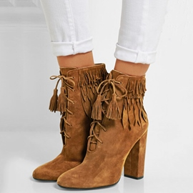 Ericdress Brown Tassels Lace-Up Front Chunky Heel Boots