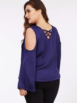 Ericdress Plus Size Cold Shoulder Blue Blouse