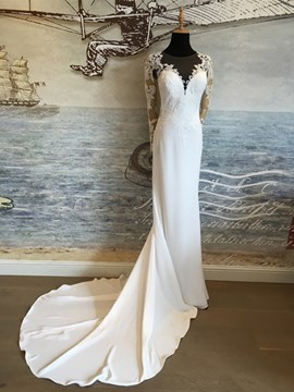 Ericdress Charming Illusion Neckline Appliques Sheath Long Sleeves Wedding Dress