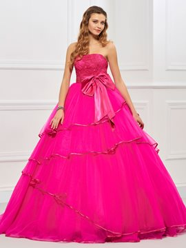 Ericdress Strapless Ball Gown Bowknot Ruffles Floor-Length Quinceanera Dress