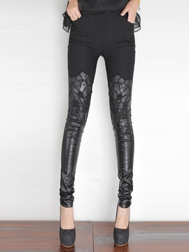 Ericdress PU Hollow Lace Appliques Fleece Leggings Pants