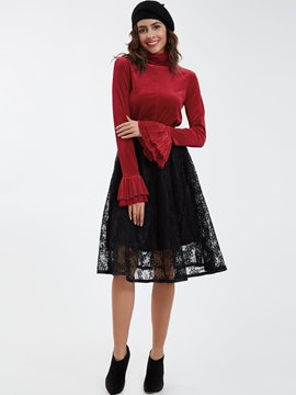 Ericdress Turtleneck Long Sleeve Lace Skirt Suit