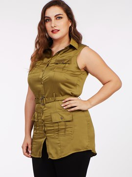 Ericdress Belt Plus Size Sleeveless Blouse