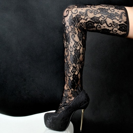 Ericdress Sexy Lace Stiletto Heel Over The Knee Boots