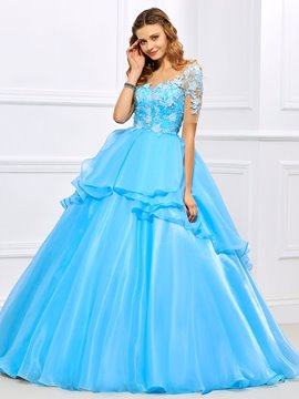 Ericdress Fresh Short Sleeve Lace Applique Button Back Ball Quinceanera Gown