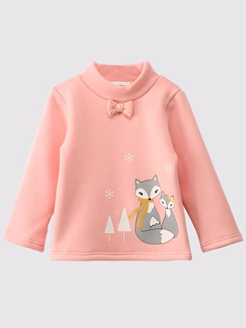 Ericdress Fox Print Turtleneck Long Sleeve Baby Girls T-Shirt