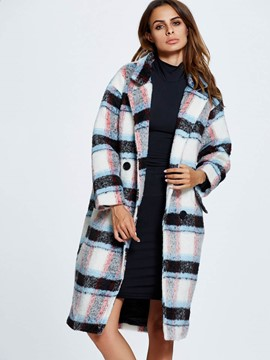 Ericdress Loose Plaid European Coat