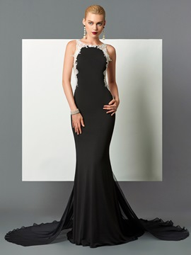 Ericdress Applique Sheer Back Long Mermaid Evening Dress