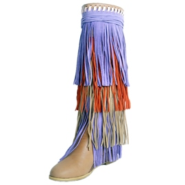Ericdress Colorful Tassels Wedge Heel Knee High Boots
