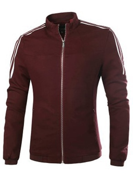 Ericdress Stripe Zip Simple Casual Slim Men's Jacket