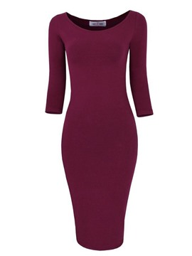 Ericdress Plain Scoop Mid-Calf Bodycon Dress