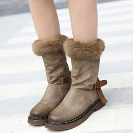 Ericdress Stylish PU Mid-calf Snow Boots