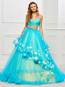 Ericdress Spaghetti Straps Two Pieces Flower Applique Ball Quinceanera Dress