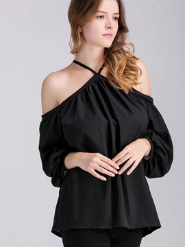 Ericdress Black Halter Pleated Blouse