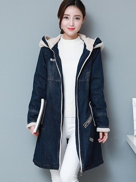 Ericdress Color Block Hooded Denim Outerwear