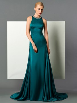 Ericdress A Line Beaded Scoop Neck Court Train Long Evening Dress