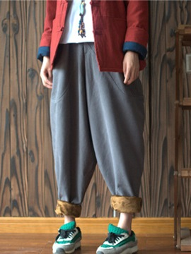 Ericdress Vintage Pleated Worn Thick Loose Pants