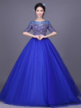 Ericdress Half Sleeves Off-the-Shoulder Ball Gown Beading Quinceanera Dress