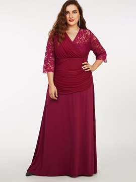 Ericdress Plus-Size Lace Patchwork Pleated High-Waist Maxi Dress
